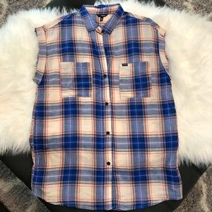Hurley Plaid Cap Sleeve Artist Top Sz Small NWOT